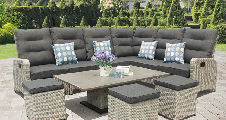rattan garden furniture grey sofa set