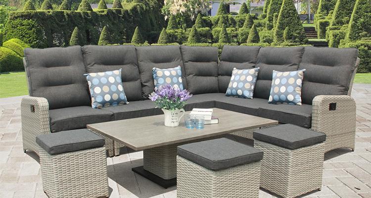 rattan garden furniture grey sofa set
